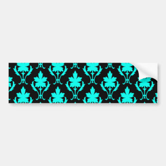 Black And Light Blue Ornate Wallpaper Pattern Bumper Sticker