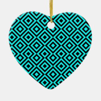 Black And Light Blue Square 001 Pattern Ceramic Heart Decoration