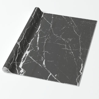 Black And Light Gray Marble Pattern Wrapping Paper