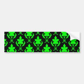 Black And Light Green Ornate Wallpaper Pattern Bumper Sticker