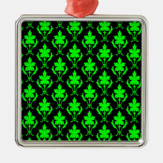 Black And Light Green Ornate Wallpaper Pattern Silver-Colored Square Decoration