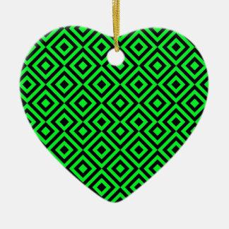 Black And Light Green Square 001 Pattern Ceramic Heart Decoration