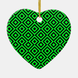 Black And Light Green Square 001 Pattern Christmas Ornament