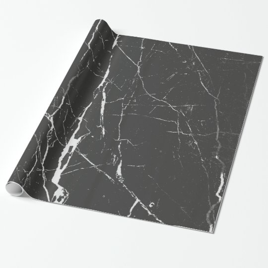 Black And Light Grey Marble Pattern Wrapping Paper