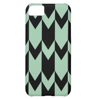 Black and Light Sage Green Chevron Pattern. iPhone 5C Case
