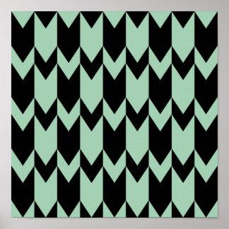 Black and Light Sage Green Chevron Pattern. Poster