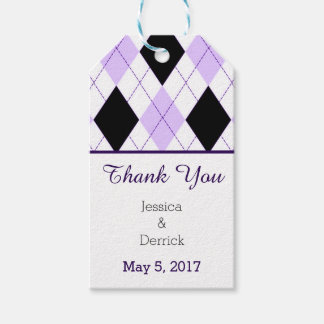 Black and Lilac Argyle Thank You Custom Wedding