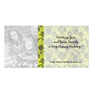 black and lime green damask.ai photo card