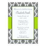Black and Lime Green Damask Bridal Shower Personalized Invitation