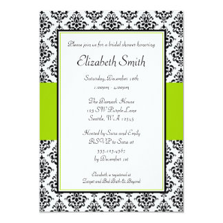Black and Lime Green Damask Bridal Shower 13 Cm X 18 Cm Invitation Card