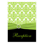 Black and Lime Green Damask Enclosure Card Business Cards