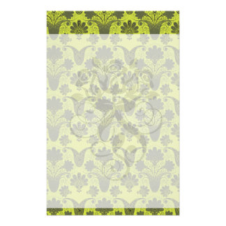 black and lime green damask personalized stationery