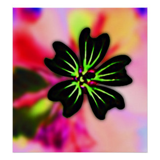 Black and Lime Green Flower on Multi-Colour Back Poster