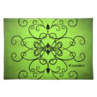 Black and lime green hearts and swirl personalised placemat