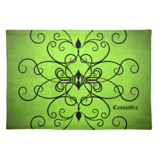 Black and lime green hearts and swirl personalized placemat