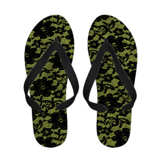 Black and lime green lace flip flops