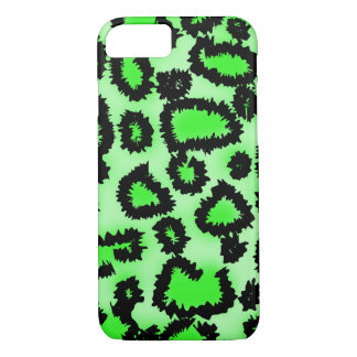 Black and Lime Green Leopard Pattern. iPhone 8/7 Case