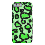 Black and Lime Green Leopard Pattern. Slim iPhone 6 Case