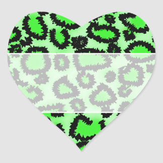 Black and Lime Green Leopard Print Pattern. Heart Sticker