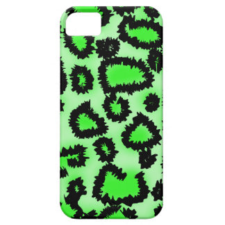 Black and Lime Green Leopard Print Pattern. iPhone 5 Cover