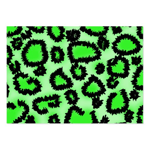 Black and Lime Green Leopard Print Pattern. Pack Of Chubby Business Cards