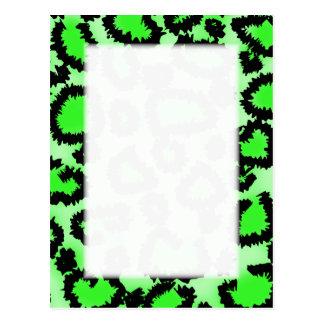 Black and Lime Green Leopard Print Pattern. Postcard
