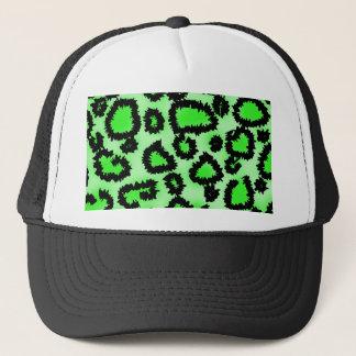 Black and Lime Green Leopard Print Pattern. Trucker Hat