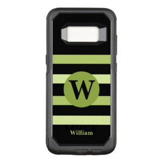 Black and lime green monogram OtterBox commuter samsung galaxy s8 case