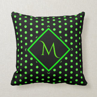 Black and Lime Green Polka dots Pattern Throw Pillow
