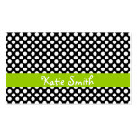 Black and Lime Polka Dot Business Cards