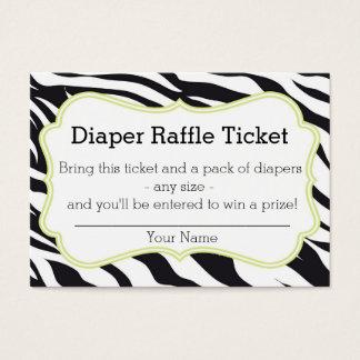 Black and Lime Zebra Diaper Raffle Ticket
