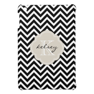 Black and Linen Beige Chevron Custom Monogram iPad Mini Cover