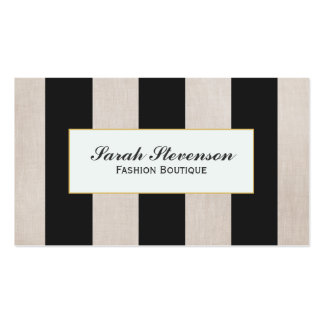 Black and Linen Look Fashion Boutique 2 Business Cards