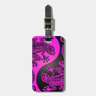 Black and Magenta Yin Yang Geckos Luggage Tag