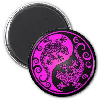 Black and Magenta Yin Yang Geckos Magnet