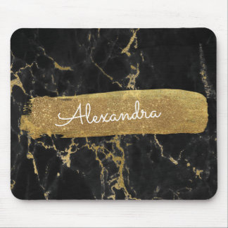 Black and Marble with Gold Foil and Glitter Mouse Mat