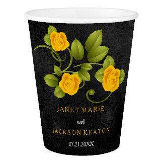Black and Marigold Yellow Rose Wedding