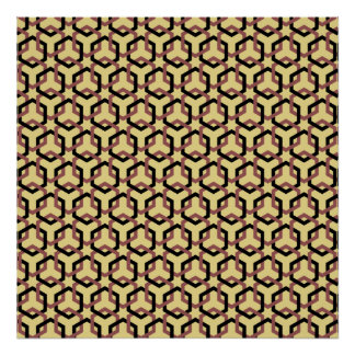 Black and Marsala Brown Linked Hexes Poster