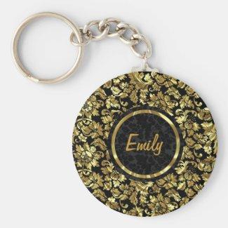Black And Metallic Gold Vintage Damasks Basic Round Button Key Ring