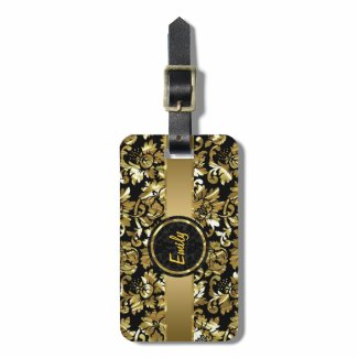 Black And Metallic Gold Vintage Damasks Tag For Bags