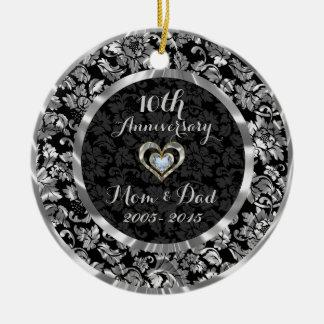 Black And Metallic Silver 10th Wedding Anniversary Christmas Ornament