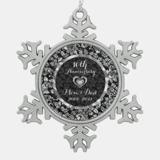Black And Metallic Silver 10th Wedding Anniversary Snowflake Pewter Christmas Ornament