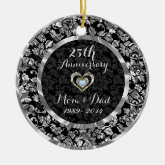 Black And Metallic Silver 25th Wedding Anniversary Round Ceramic Decoration