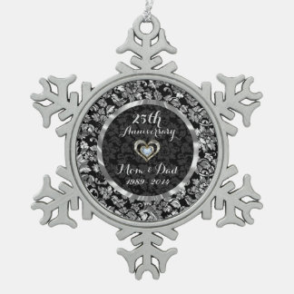 Black And Metallic Silver 25th Wedding Anniversary Snowflake Pewter Christmas Ornament