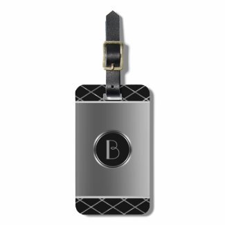 Black And Metallic Silver Geometric Design Luggage Tag