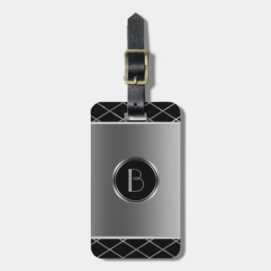 Black And Metallic Silver Geometric Design Luggage Tag