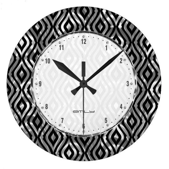 Black And Metallic Silver Geometric Pattern Large Clock