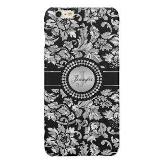 Black And Metallic Silver Vintage Floral Damasks iPhone 6 Plus Case