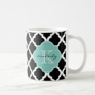 Black and Mint Moroccan Quatrefoil Print Coffee Mug