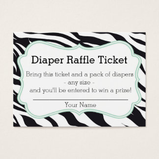 Black and Mint Zebra Diaper Raffle Ticket